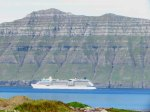Cruise ship sailing toward Iceland