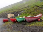 Bright colored row boats